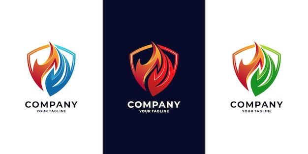 Fire shield and energy logo