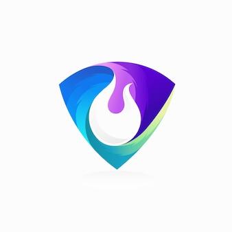 色のグラデーションの概念を持つ防火シールドのロゴ
