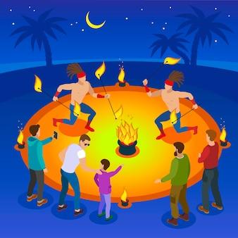 Composizione di spettacolo di fuoco con illustrazione vettoriale piatta di simboli di divertimento e divertimento