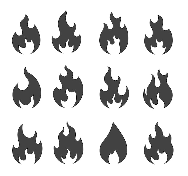 Fire silhouettes set