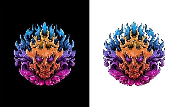 Fire skull face  illustration