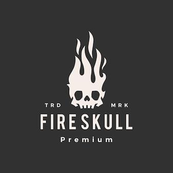 Fire skull flame hipster vintage logo