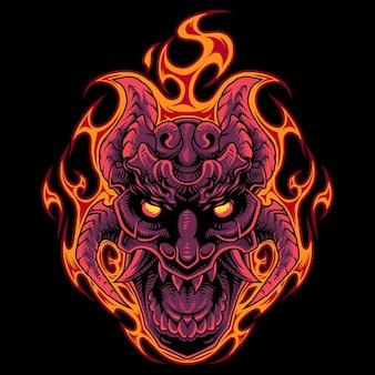 火の頭蓋骨の頭のマスコットのロゴ