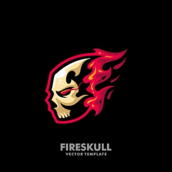 Fire skull illustration concept vector design template