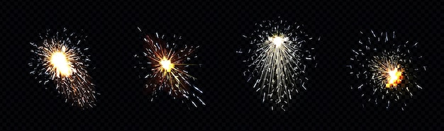 금속 용접, 철 절단 또는 불꽃 놀이에서 불꽃이 발생합니다.