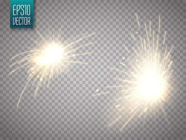 火は孤立した輝く光の効果を火花します。