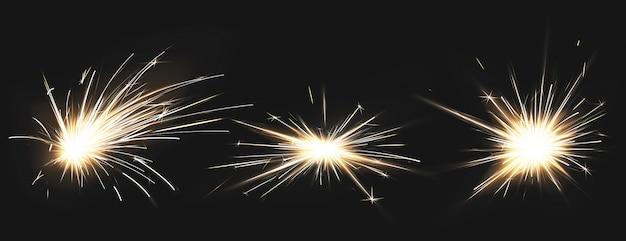 金属溶接の火花、花火