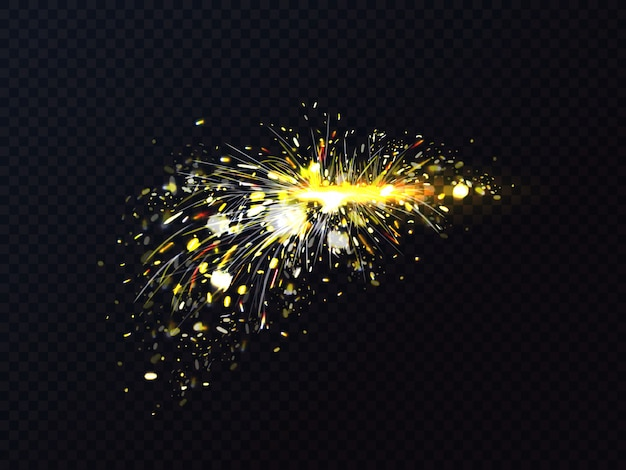 금속 용접 또는 절단 플레어 스파크의 불꽃.