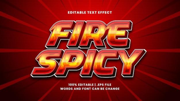 Огонь пряный редактируемый текстовый эффект в современном 3d стиле