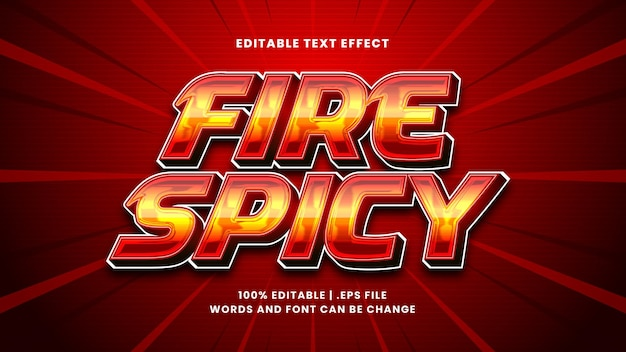 Fire spicy editable text effect in modern 3d style