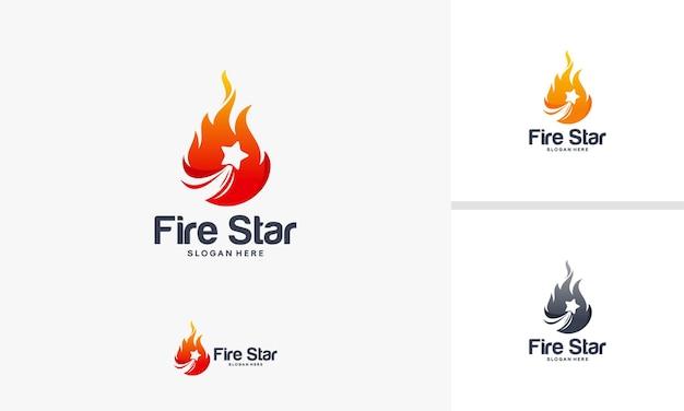 Fire star logo designs concept, fire and star logo symbol template