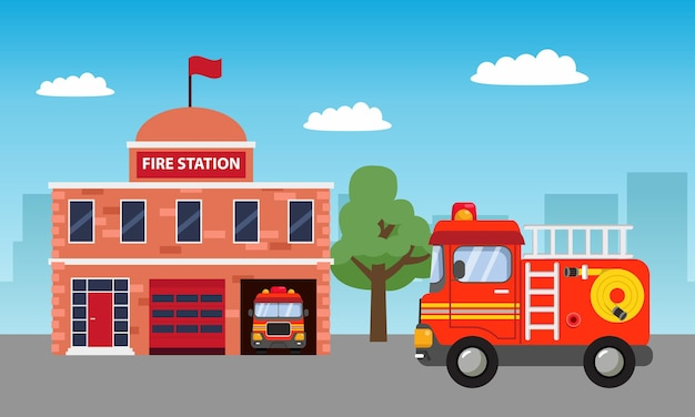 Fire station building background for children birthday theme with fire truck.