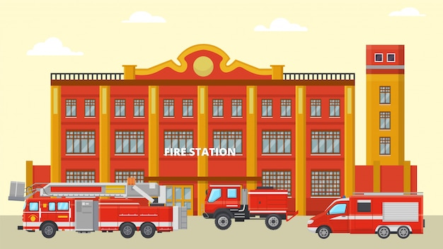 Fire station building and fire trucks  illustration. various red fire engines near emergency rescue city service.