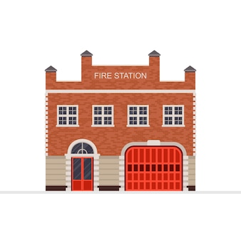 白で隔離される消防署の建物のベクトル図