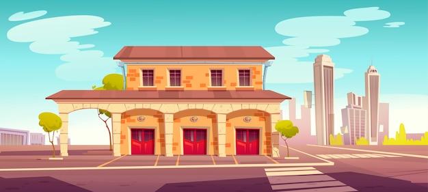 閉じた赤い門のある消防署の建物。町の消防署と漫画の夏の街並み。緊急救助トラック用のガレージを備えた消火器サービスのオフィス