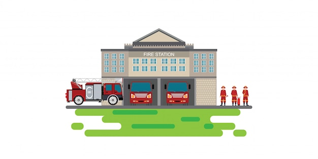 Fire station building with emergency vehicle fire engine truck and fire man icon isolated banner