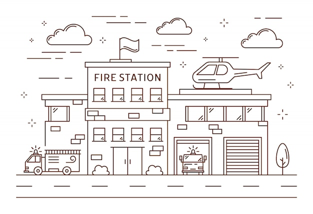 Fire station building.