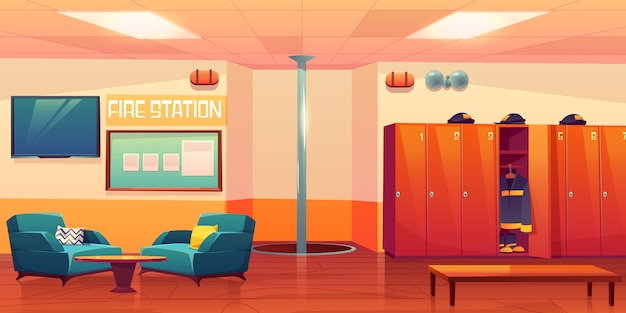 Fire station empty interior firefighters workplace illustration