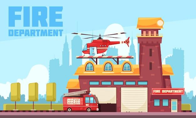 Fire station flat background