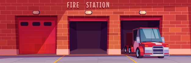 Fire station garage with red truck leaving box