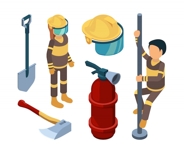Fire station items isometric. firefighters smoke truck fireman extinguisher flame water professional equipment 3d pictures