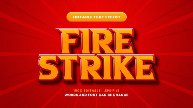 Fire strike editable text effect in modern 3d style