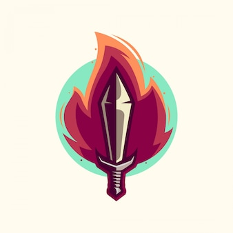 Fire sword logo vector