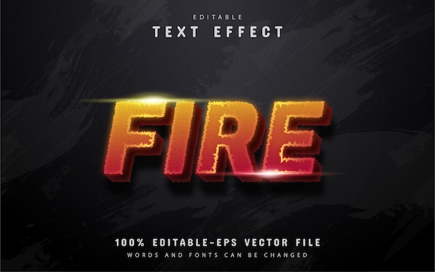 Fire text, editable text effect
