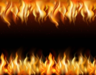 Fire tileable realistic borders set on black background