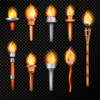 Fire torch realistic set