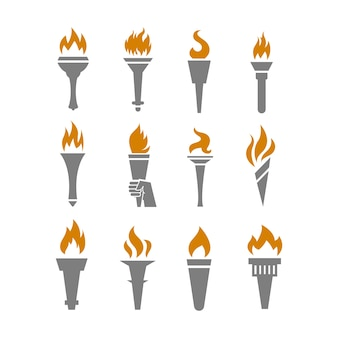Fire torch with flame flat icons set