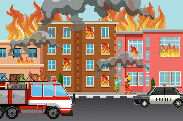 Fire in the town