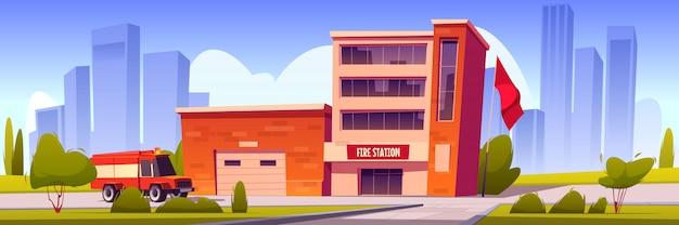 Пожарная машина едет к зданию вокзала с гаражом Бесплатные векторы