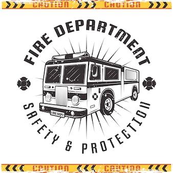 Эмблема пожарная машина для пожарной в винтажном стиле изолированные