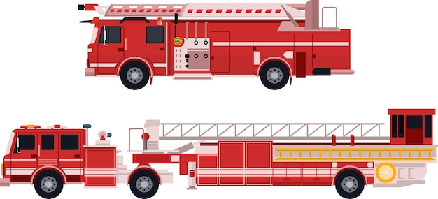 Fire truck in flat vector