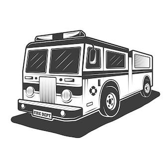 白い背景の上のモノクロヴィンテージの消防車のイラスト
