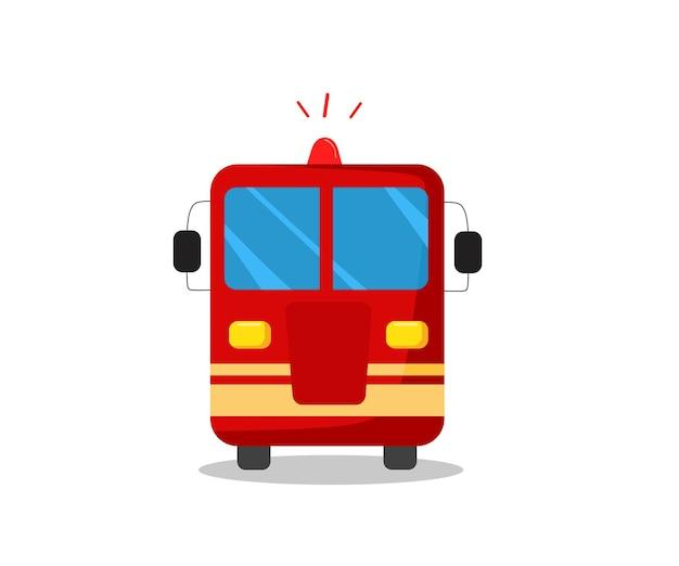 Пожарная машина в мультяшном стиле, вид спереди. векторная иллюстрация.