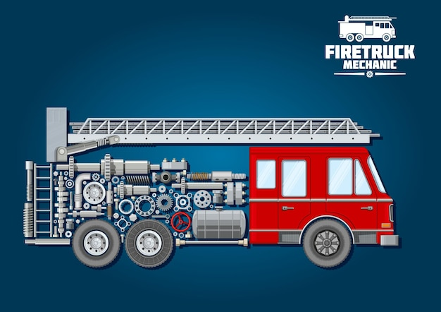 Fire truck mechanics symbol of fire engine with red cabin