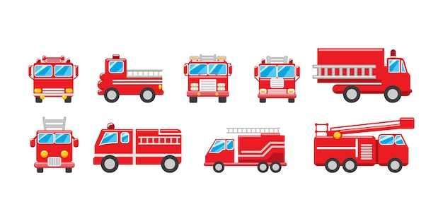Fire truck  set collection graphic clipart design