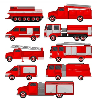 Fire trucks set, emergency vehicles, side view  illustrations on a white background