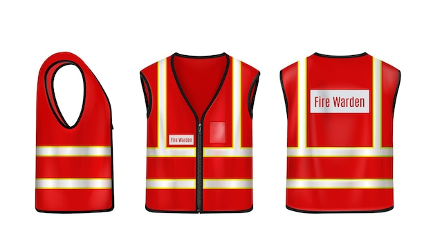 消防士の安全ベストの正面図と背面図