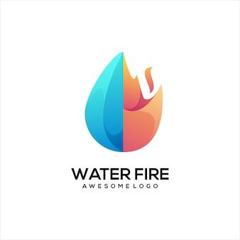 火の水カラフルなグラデーションのロゴ