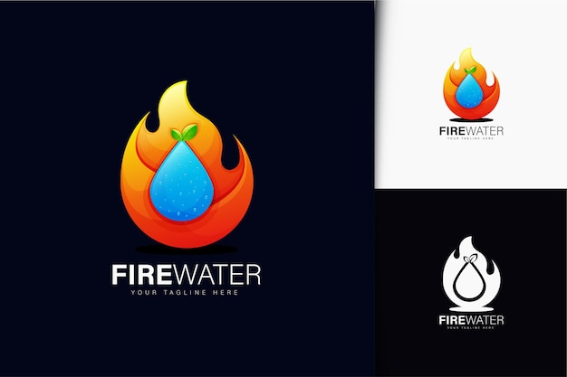 Fire and water logo design with gradient