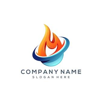 Fire water logo design