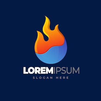 Fire water logo element symbol of fire and water gradient logo template