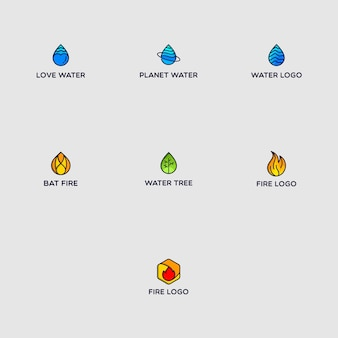 Fire and water logo pack