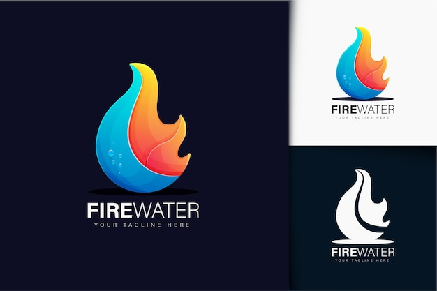 Fire and water logo with gradient