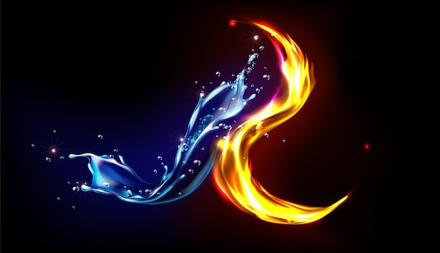 Fire and water splash abstract design, opposites unite concept, blue liquid aqua with splashing drops and blazing wave with flying sparks isolated on black background realistic 3d illustration