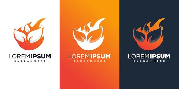 Fire with leaf logo design