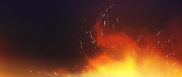 Fire with sparkles and smoke isolated on transparent background